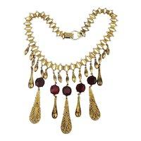 FLORENZA Victorian Revival Dangle Necklace w/ Red Rhinestones