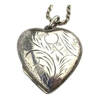 Etched Sterling Silver HEART Locket Pendant Necklace - View for Two