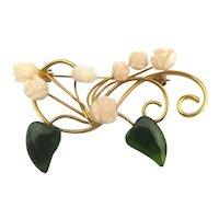 Genuine Coral Flowers w/ Jade Leaves Pin Brooch