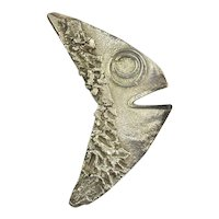 Old Mexican Sterling Silver FISH HEAD Pin Brooch Hand-Signed