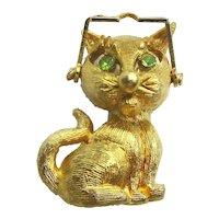 Wise Guy Cat w/ Moving Eyeglasses Pin Brooch