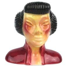Art Deco Ceramic Asian Lady Head Face Compelling Figurine