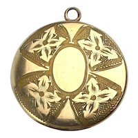 Antique Victorian Gold-Filled Locket w/ Photos - Etched Flower Arrows