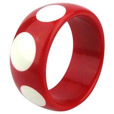 Big Red Lucite Polka Dot Bangle Bracelet