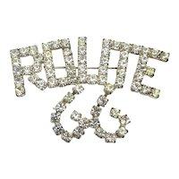 Vintage ROUTE 66 Crystal Rhinestone Pin Brooch
