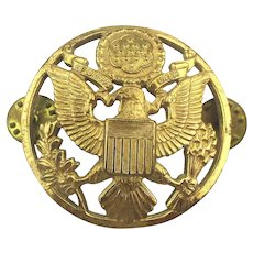 Vintage U.S. Army Gilded Brass Eagle Hat Badge