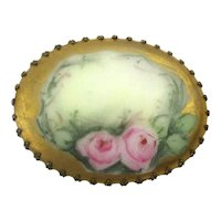 Victorian Hand-Painted Porcelain Pin Two Roses One Cloud