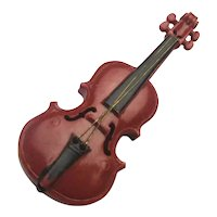 Old Miniature MITTENWALD Violin Vio- Pin Brooch