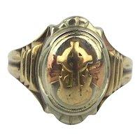 10K Gold Ring 1946 Celtic Cross Triple Golds