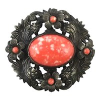 Old Pretty 1930s Pin Flowers w/ Coral Glass