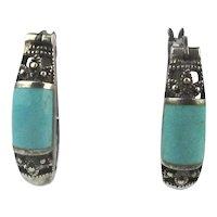 Sterling Silver Turquoise Earrings U-Hoops