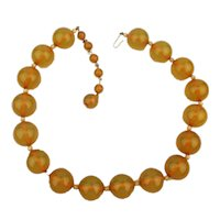 Lucite Great Balls of Yellow Bead Necklace