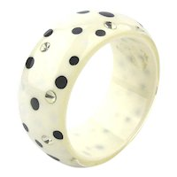 Lots of Black White Dots w/ Rhinestone Spots Lucite Bangle Bracelet