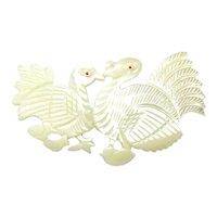 Vintage Mother-of-Pearl Carved Turkey Pin - Turkeys Talking