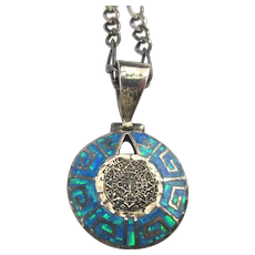 Taxco Cardenas 950 Silver Opal Aztec Calendar Pendant Necklace