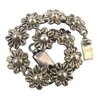 Mexican Sterling Silver FLOWER Link Bracelet
