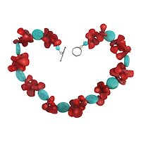 Bold Necklace Faux Red Coral and Turquoise