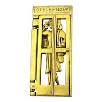 Signed AJC Woman in a Telephone Booth Calling You Pin Brooch