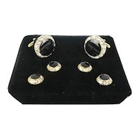 Mens Dress Rhinestone Black Stone Cufflink Set w/ Studs