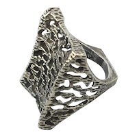 Big Modernist Ring - A Web of Sterling Silver