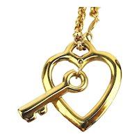 Signed NAPIER Heart and Key Pendant Necklace