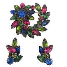 Multi Color Rhinestone Pin Brooch w/ Clip Earrings Set