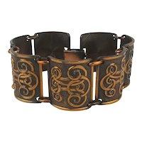 Vintage Copper Link Bracelet Fancy Script Design