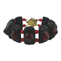 1980s Italian Black Red Glass Bracelet
