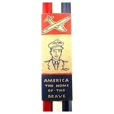 Aviator WWII Red White Blue Pencils in Orig. Home of the Brave Wrap