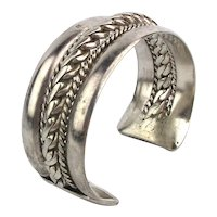 Old Egyptian Bedouin Heavy Silver Cuff Bracelet Superb Tribal Piece