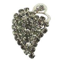 Vintage WEISS Clear n Smoky Crystal Pin Brooch