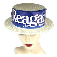 Rare Ronald Reagan For President Faux Straw Hat 1976