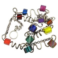 Pop Art Sterling Silver Glass Bead Necklace Quirky Zig-Zaggy