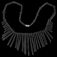 Vintage Black Coral Branch Necklace