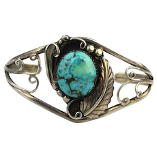 Vintage Navajo Cuff Bracelet Sterling Silver Turquoise