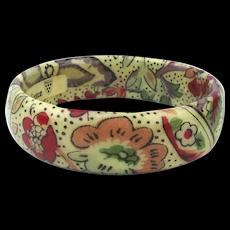 French Valdrome Laminated Fabric Bangle Bracelet
