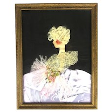 Art Deco Lady Framed Picture - Real Textile Clothes Lace Feathers Hair