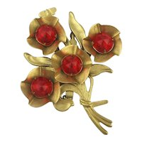 Old Big Poor Girl's Flower Pin w/ Red Glass Stones