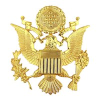 WWII Army Officer's Eagle Badge Gilded Brass