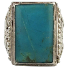 Big Navajo Sterling Silver Turquoise Ring Eagle Sides