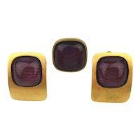 Modernist SKALLI PARIS Clip Earrings w/ Matching Ring