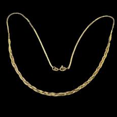 Estate 14K Gold Necklace Chain w/ Braided Center