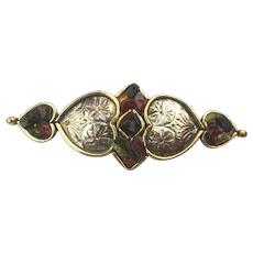 Gilded Sterling Silver Art Pin Brooch Hearts on the Side