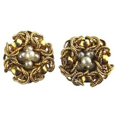 Vintage Pearly Eggs in Gilt Nest Clip Earrings