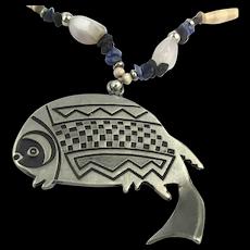 Modernist Big Pewter Fish Bone n Stone Bead Necklace