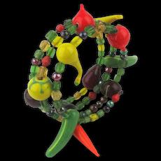Vintage Glass Fruit n Veggie Wrap Around Bracelet