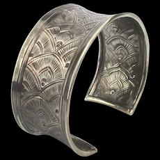 Vintage Hill Tribe Sterling Silver Cuff Bracelet