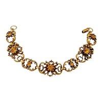 Vintage CORO Gilded Amber Glass Link Bracelet