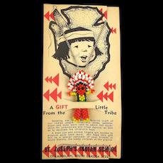 Vintage St. Joseph's Indian School Beaded Figure Necklace on Orig. Card