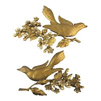 1967 Pair Gilded Syroco Birds on Floral Branch Wall Decor Plaques